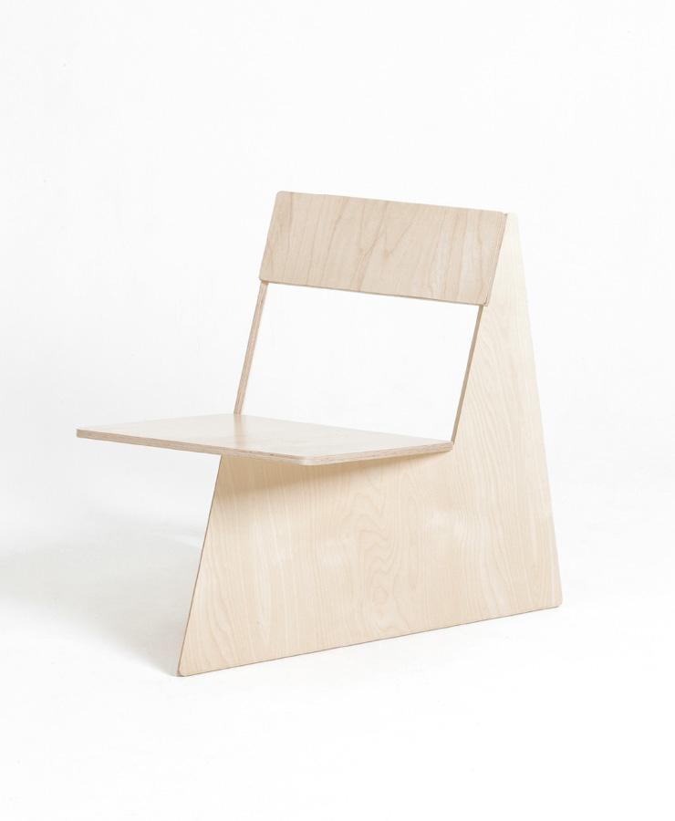 한 장의 나무 합판으로 버려지는 조각 없이 네 개의 의자가 나오도록 설계한  ' 포 브라더스 ' 프로젝트