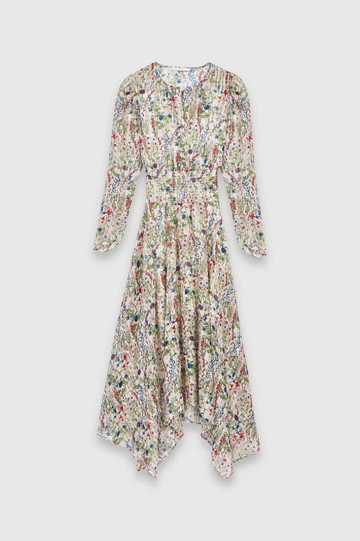 언밸런스한 헴라인이 드라마틱한 드레스는 65만9천원, Maje.