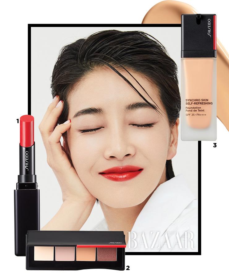 1 Shiseido 컬러젤 립밤, 105 포피 3만7천원대. 2 Shiseido 에센셜리스트 아이 팔레트, 01 미유키 스트리트 누드 6만원대. 3 Shiseido 싱크로 스킨 셀프 리프레싱 파운데이션 6만8천원대.