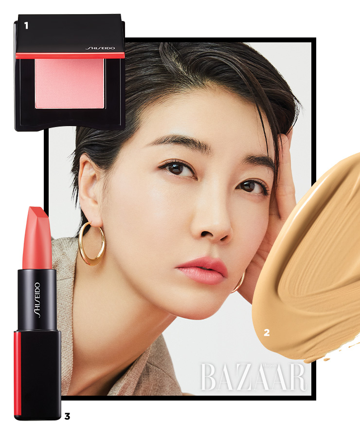 1 Shiseido 이너글로우 치크 파우더, 02 트와일라잇 아워 4만5천원대. 2 Shiseido 싱크로 스킨 셀프 리프레싱 파운데이션 6만8천원대. 3 Shiseido 모던매트 파우더 립스틱, 525 사운드 체크 3만9천원대.