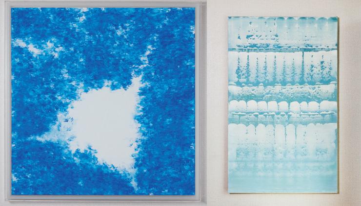 (왼쪽부터) ⓒ김춘수, 〈희고 푸르게〉, 2017. ⓒ정희민, 〈비참한 기억〉, 2019.
