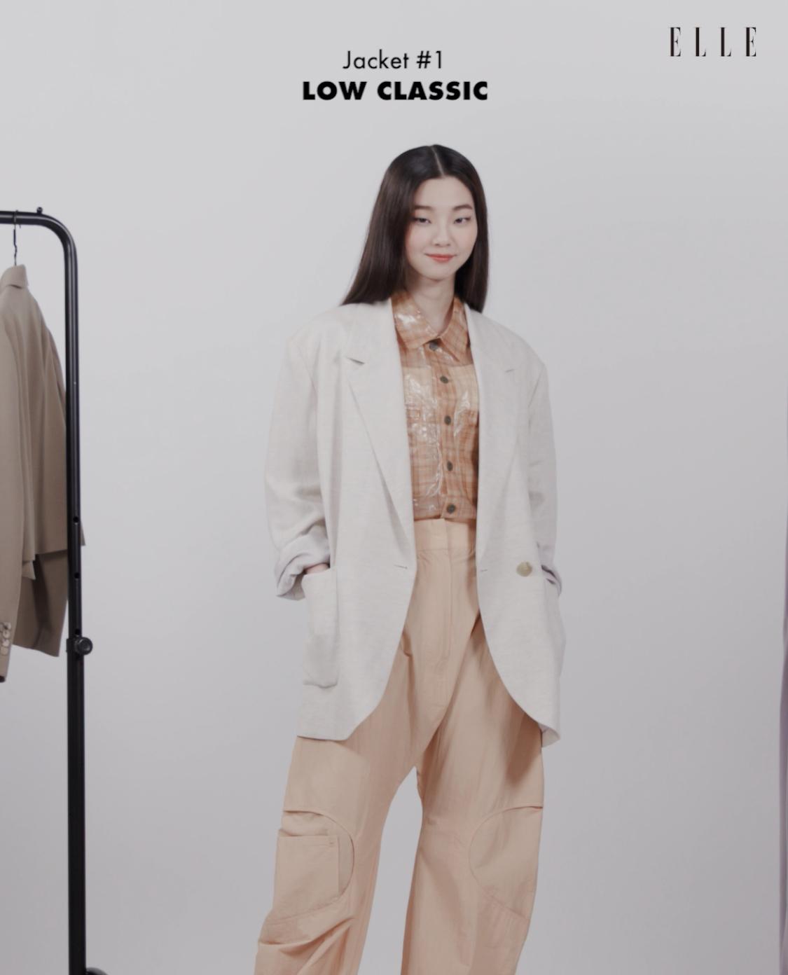 셔츠 Maison Kitsune by Beaker. 팬츠, 리넨 재킷 Low Classic.