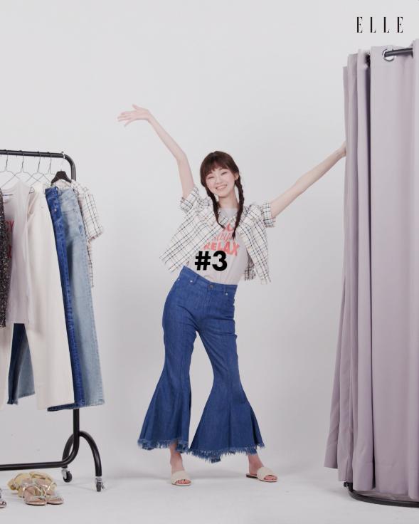 티셔츠는 Juicy Couture. 트위드 재킷은 Maje.