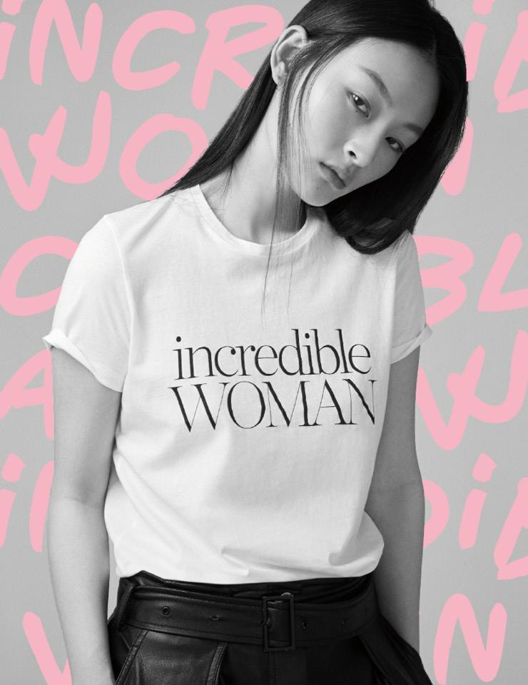 여성의 날을 기념해 선보인 티셔츠는 6만원대, Ninety Percent by Net-A-Porter.