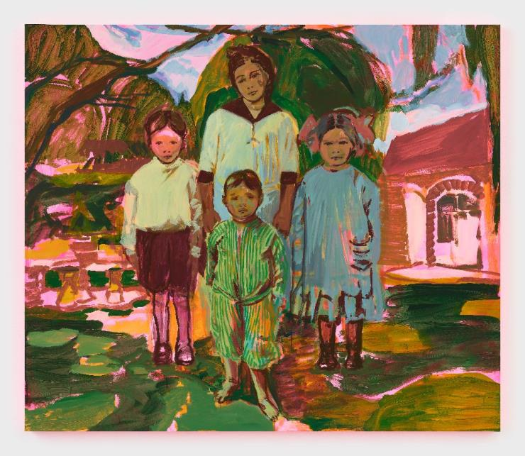 CLAIRE TABOURET, 'The Siblings', 2020 Acrylic on canvas, 72 x 84 x 2 inches(182.9 x 213.4 x 5.1 cm ), Photo: © Marten Elder Courtesy of the artist and Perrotin