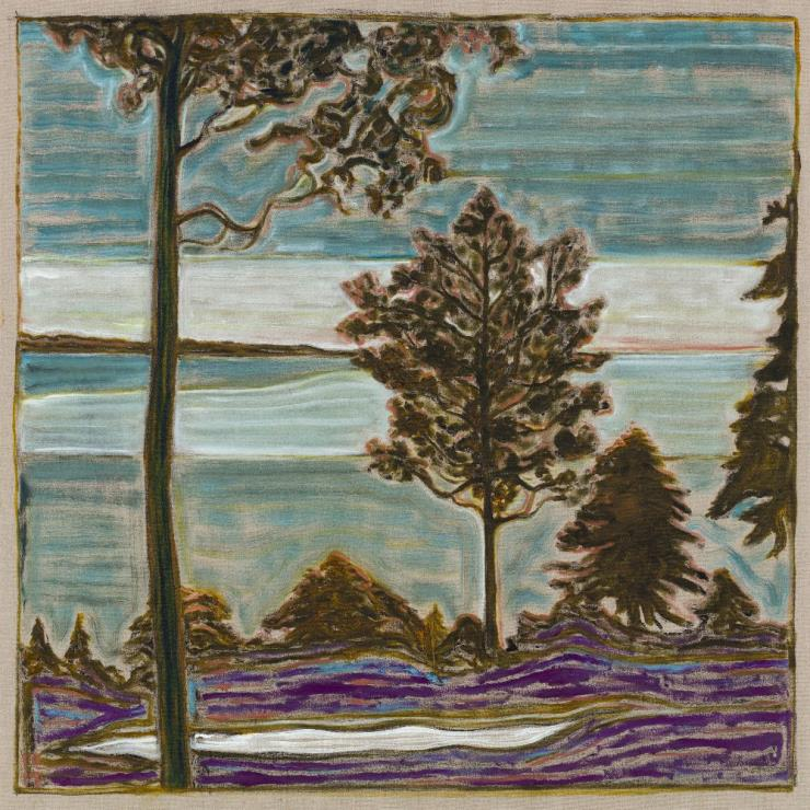 BILLY CHILDISH, 'Tree Overlooking Sea', 2017, Oil and charcoal on linen, 48.03 x 48.03 inches(122 x 122 cm), Courtesy the artist and Lehmann Maupin, New York, Hong Kong, and Seoul