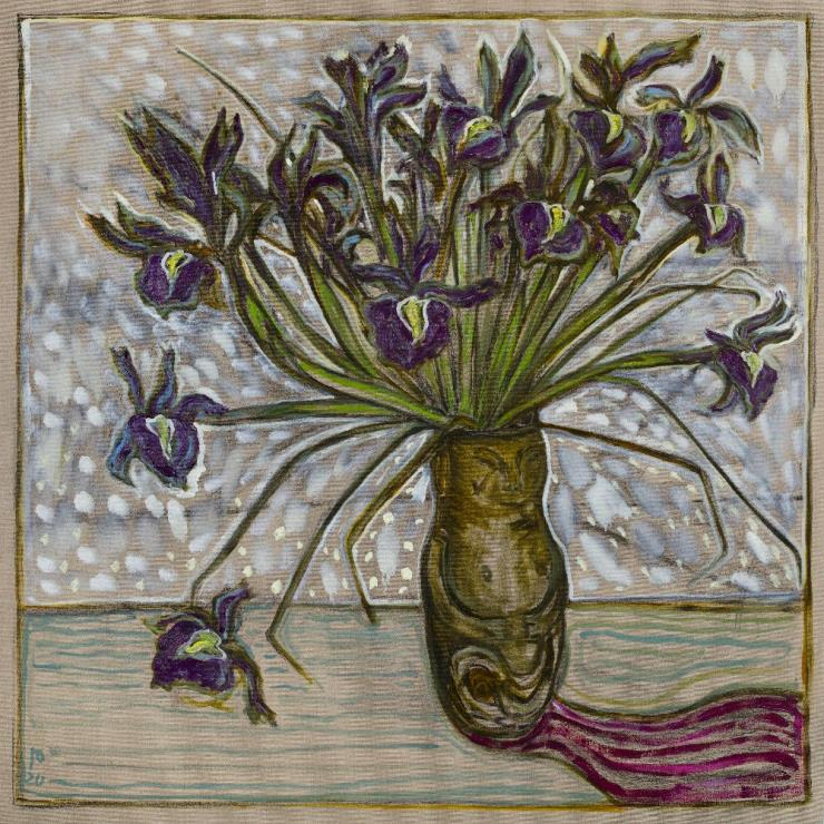 BILLY CHILDISH, 'Irises', 2020, Oil and charcoal on linen, 48.03 x 48.03 inches(122 x 122 cm), Courtesy the artist and Lehmann Maupin, New York, Hong Kong, and Seoul