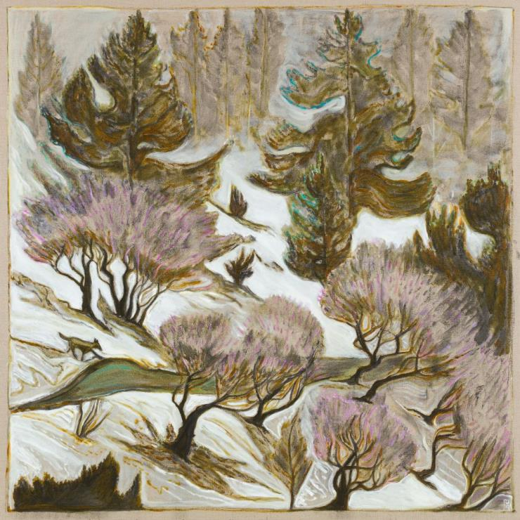 BILLY CHILDISH, 'Wolf, Trees and Road', 2019, Oil and charcoal on linen, 72.05 x 72.05 inches(183 x 183 cm), Courtesy the artist and Lehmann Maupin, New York, Hong Kong, and Seoul
