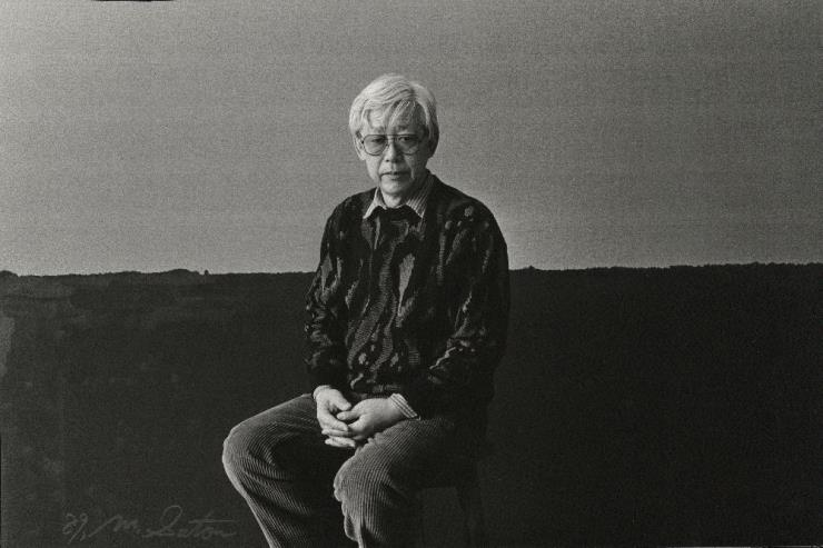 October 1989, YHK in front of this work at his Seogyo-dong studio. Image ©Yun Seong-ryeol. Courtesy of PKM gallery.
