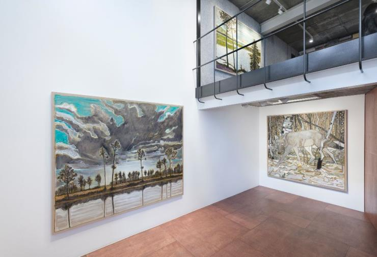 BILLY CHILDISH, 'Wolves' 'Sunsets and The Self' Installation view, Lehmann Maupin, Seoul April 23 – June 27, 2020 Photo by OnArt Studio Courtesy the artist and Lehmann Maupin, New York, Hong Kong, and Seoul.