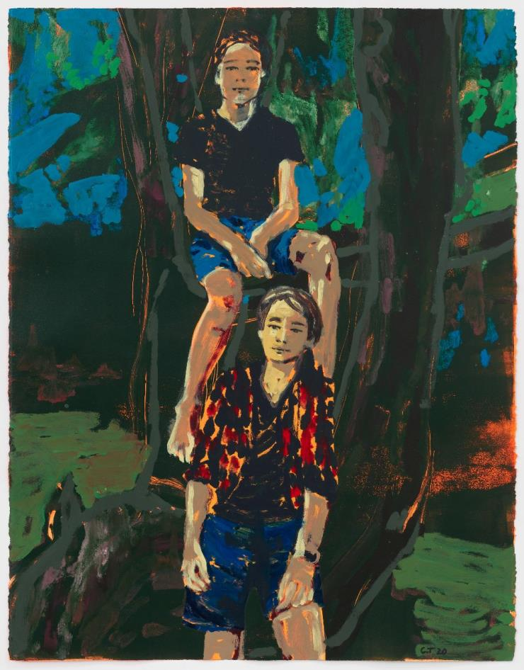CLAIRE TABOURET,'Zino and Enea(blue)', 2020 Acrylic and ink on paper, 55 x 42 inches(139.7 x 106.7 cm) Photo: ©Marten Elder Courtesy of the artist and Perrotin