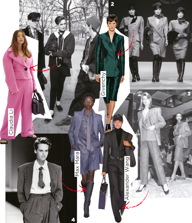 1 1984 F/W 파리 패션쇼를 보기 위해 튀일리 정원에 모여든 여피들. 2 1958 F/W 웅가로 쇼, 테일러드 원피스를 입은 모델 군단. 3 1980년 4월, 뉴욕 패션쇼에 등장한 파워 수트 룩. 4 매니시한 파워 수트의 정석, 1980년대 엠포리오 아르마니 쇼의 한 장면.