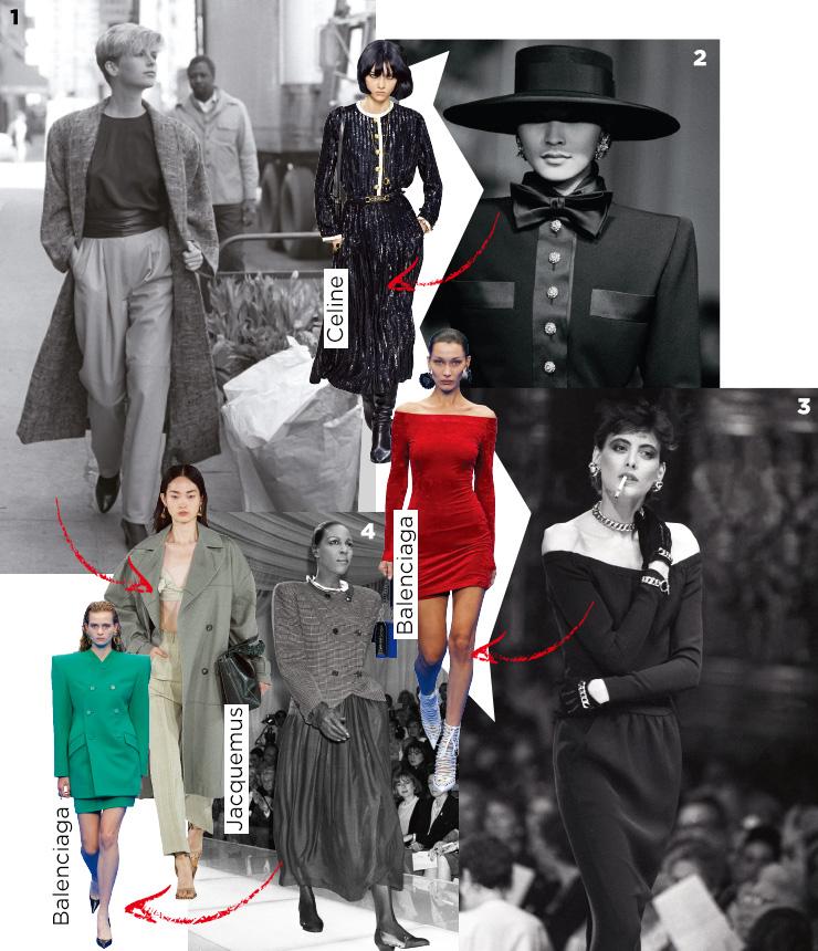 1 여피들의 위켄드 룩을 대변한 1984년 마이클 코어스의 캠페인 컷. 2 고급스러운 단추 장식이 돋보이는 이브 생 로랑의 1983 F/W 오트 쿠튀르 룩. 3 당시 여피들의 드레스업 스타일을 보여주는 1984년 샤넬의 드레스. 4 조르지오 아르마니의 1987 S/S 컬렉션.