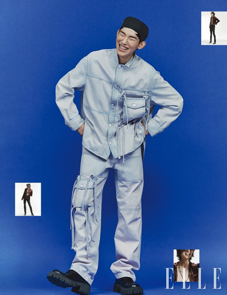 매듭 장식의 데님 셔츠는 2백만원대, 데님 팬츠는 1백만원대, 모두 Louis Vuitton. 더비 슈즈는 가격 미정, Balenciaga. 나일론 모자는 가격 미정, Prada. 벨벳 셔츠와 티셔츠, 스키니 팬츠, 레오퍼드 슈즈, 펜던트 네크리스, 롱 네크리스는 가격 미정, 모두 Saint Laurent by Anthony Vaccarello.