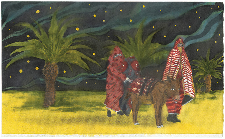 AGAFAY Donkey and travelers at night in the desert.