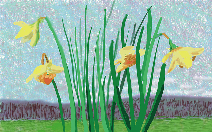 David Hockney, 〈Do remember they can't cancel the spring〉, 2020. Courtesy the Artist and Louisiana Museum of Modern Art