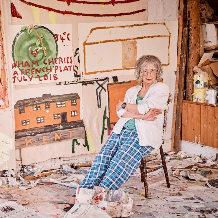 켄트(Kent)에 위치한 자신의 집 겸 스튜디오에서, 로즈 와일리.