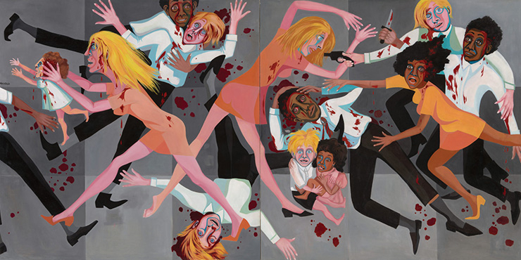 Faith Ringgold,?〈American People Series #20: Die〉, 1967, Oil on canvas, two panels, 182.9 x 365.8 cm. The Museum of Modern Art, New York. Acquired through the generosity of The Modern Women's Fund, Ronnie F. Heyman, Eva and Glenn Dubin, Lonti Ebers, Michael S. Ovitz, Daniel and Brett Sundheim, and Gary and Karen Winnick