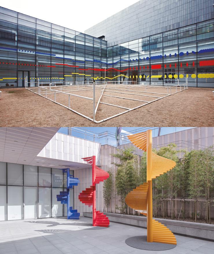 오스카 슐레머의 영상 〈바우하우스 댄스〉 중 〈스페이스 댄스〉를 재해석한 움직임 악보 '2분13초, 35프레임'(2014)과 이를 건축적으로 구현한 조각 '2분13초, 4.6미터'(2020).