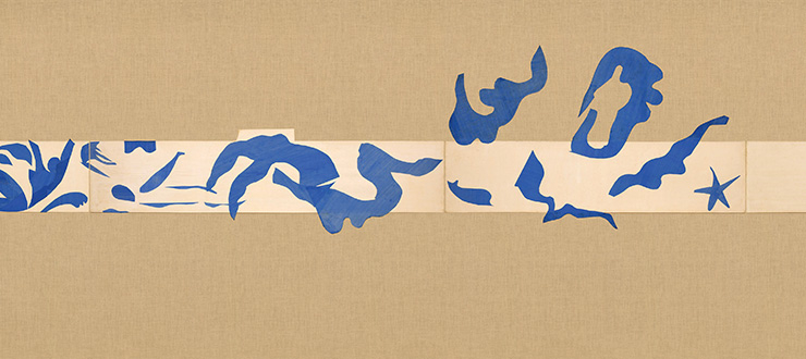 Henri Matisse, 〈The Swimming Pool〉, Nice -Cimiez, Hotel Regina, late summer 1952, Nine-panel mural in two parts: gouache on paper, cut and pasted, on white painted paper, mounted on burlap. 230.1x847.8cm. Digital image, The Museum of Modern Art, New York/Scala, Florence
