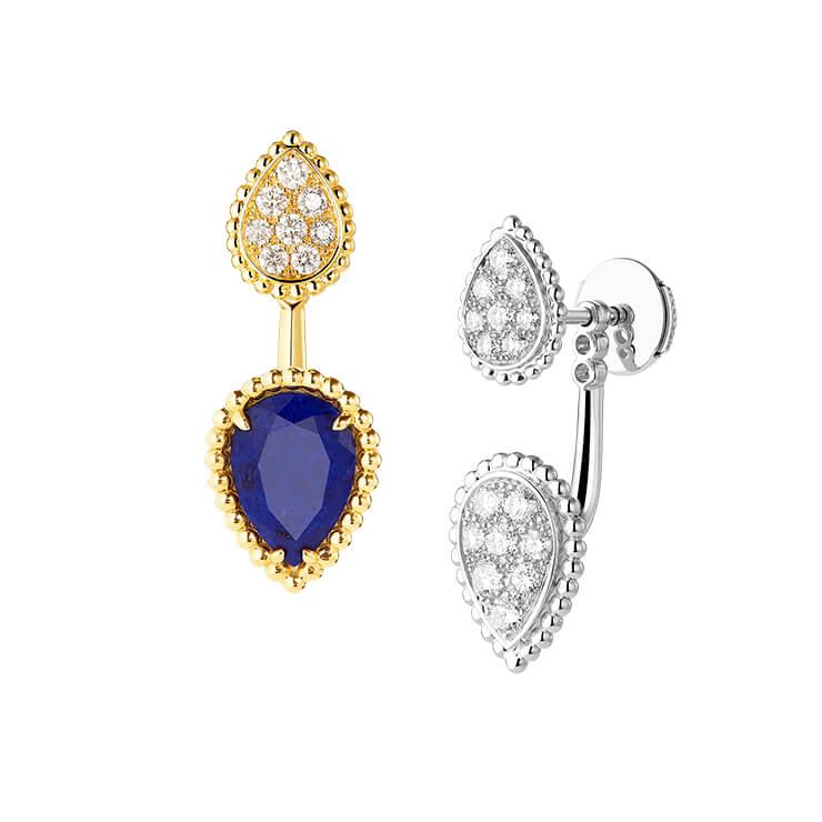 1개의 라피스 라줄리(1.22캐럿)와 8개의 라운드 다이아몬드(0.16캐럿)가 세팅된 라피스 라줄리 이어링과 16개의 라운드 다이아몬드(0.49 캐럿)가 세팅된 화이트 골드 스터드 이어링.