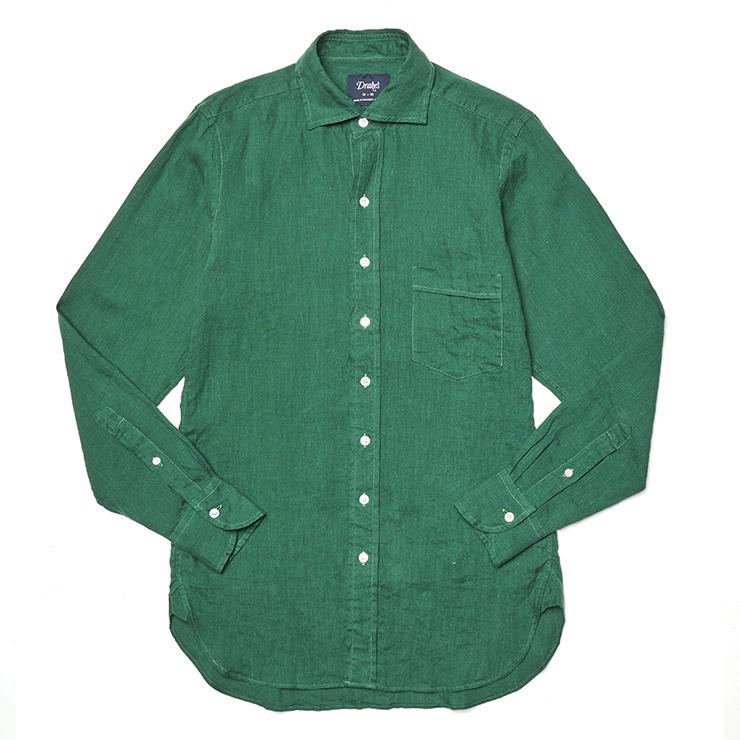 다크 그린 리넨 셔츠 28만9000원 드레익스.