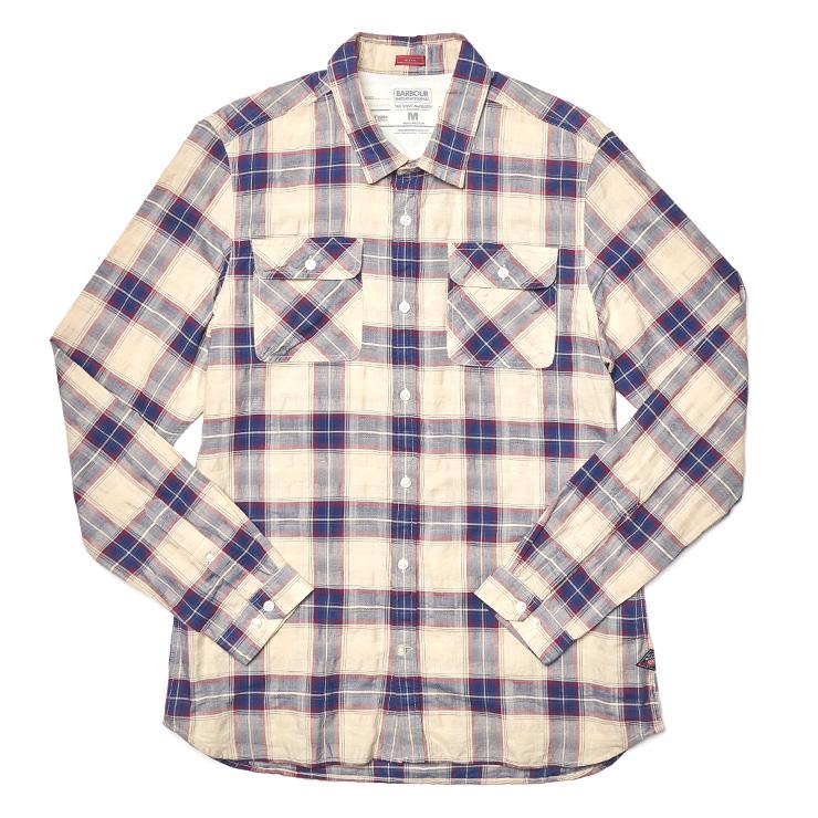 체크 패턴 트윈 포켓 리넨 셔츠 16만원 바버.