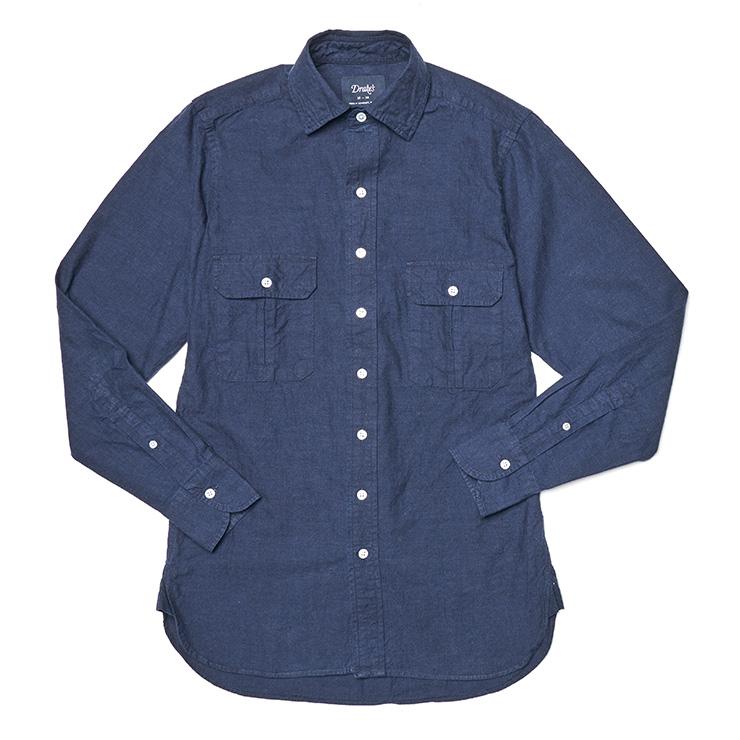 네이비 코튼 트윈 포켓 셔츠 31만9000원 드레익스.