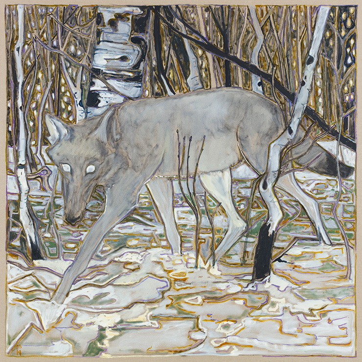 Billy Childish, wolf in birch trees, 2019, Courtesy the artist and Lehmann Maupin, New York, Hong Kong, and Seoul.