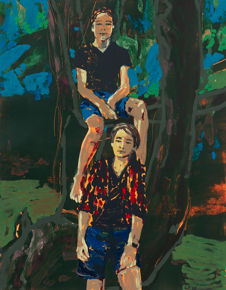 Claire Tabouret, 〈Zino and Enea (blue)〉, 2020, Acrylic and ink on paper, 139.7 x 106.7 cm | 55 x 42 in. Photo: ⓒMarten Elder Courtesy of the artist and Perrotin