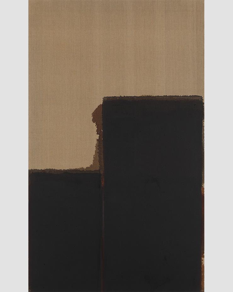 윤형근, 〈Burnt Umber _ Ultramarine Blue〉, 1989, Oil on linen, 162x97cm. Image ⓒYun Seong-ryeol. Courtesy of PKM Gallery.
