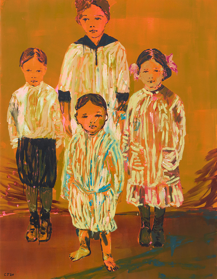 Claire Tabouret, 〈The Siblings(orange)〉, 2020, Acrylic and ink on paper, 139.7x106.7cm(55x42 inch). Framed: 158.1x125.1x5.1cm(62 1/4x49 1/4 x 2 inch). Photo: Martin Elder. Courtesy the artist and Perrotin.
