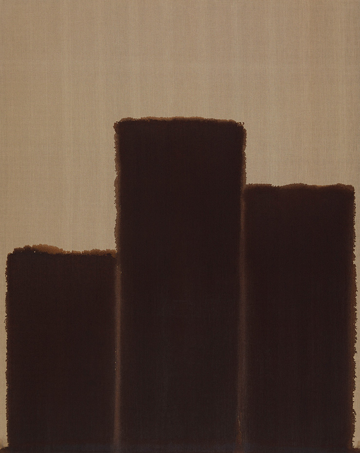 윤형근, 〈Burnt Umber _ Ultramarine〉, 1991, Oil on linen, 227x181.7cm. Image ⓒYun Seong-ryeol. Courtesy of PKM Gallery.