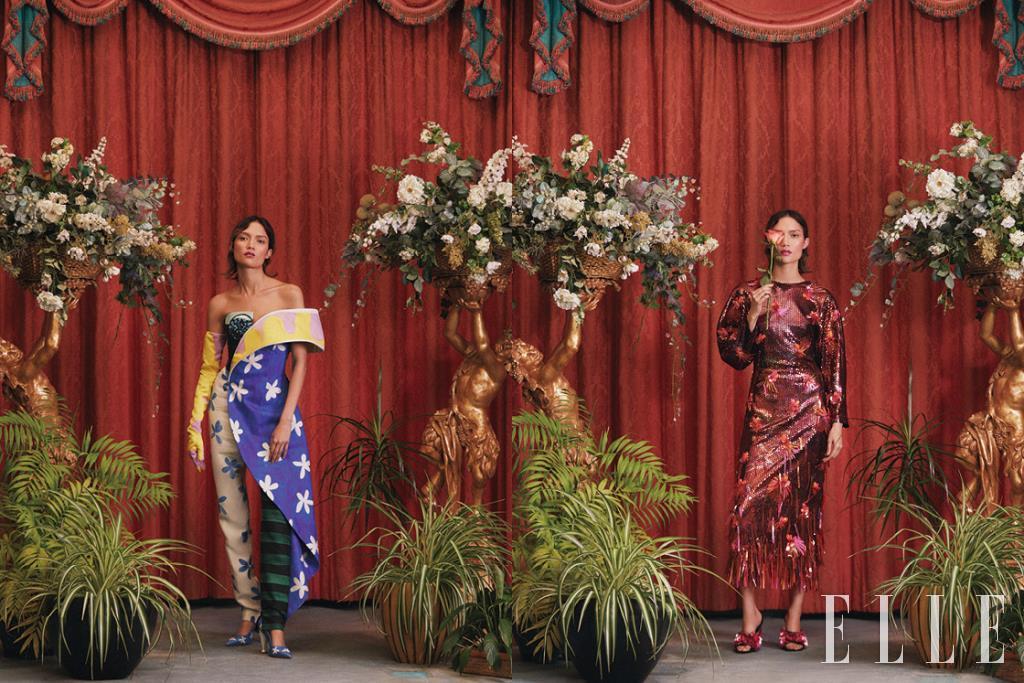(왼쪽부터)독특한 숄더 라인의 점프수트는 2890파운드, 스틸레토 힐은 490파운드, 타이다이 글러브는 가격 미정, 모두 Moschino. 꽃 장식을 덧댄 스팽글 드레스는 8150파운드, 샌들은 1400파운드, 모두 Versace.