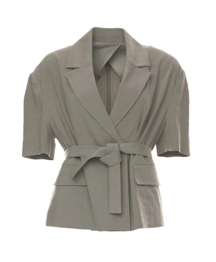 동그란 어깨 셰이프가 페미닌한 반팔 리넨 재킷은 24만8천원, Maisonmarais.