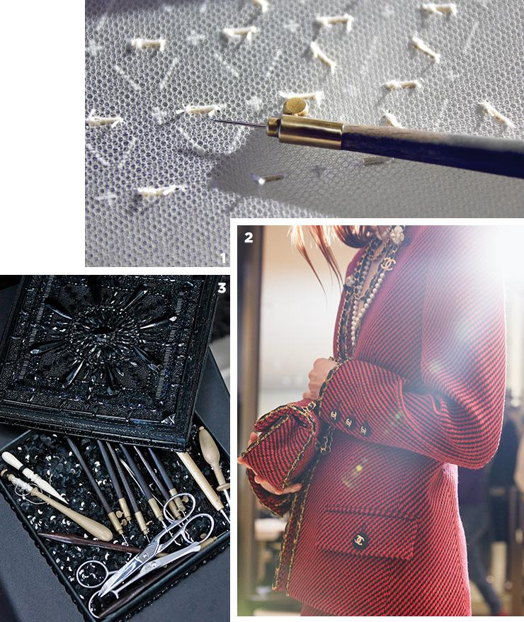 1 훅과 바늘로만 자수를 놓는 방식을 고수하는 르사주 공방.2 파리-캉봉가 31번지 2019/20 공방 컬렉션.3 르사주의 전통과 역사가 담긴 자수를 위한 도구들.