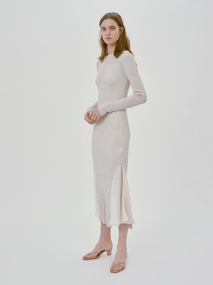 렉토 - LAYERED KNIT LONG DRESS