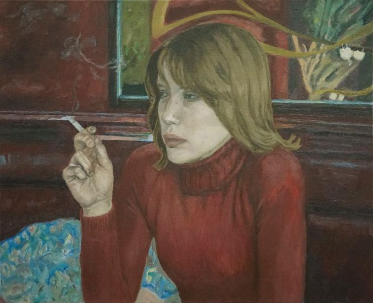 서동욱, '붉은방-금발머리-담배연기', oil on canvas, 53 x 65cm, 2020