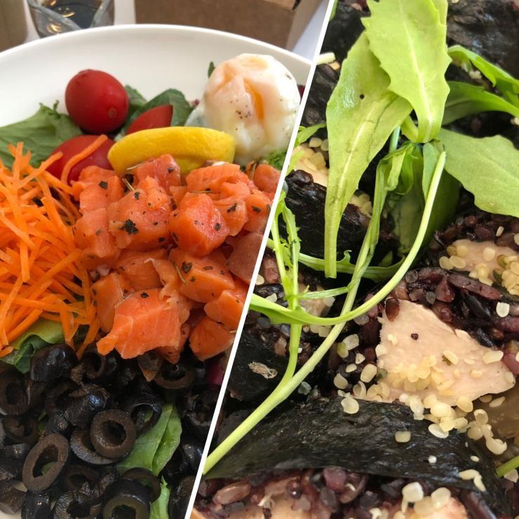 6월 8일 점심_연어 샐러드 & 닭가슴 살 현미 김밥