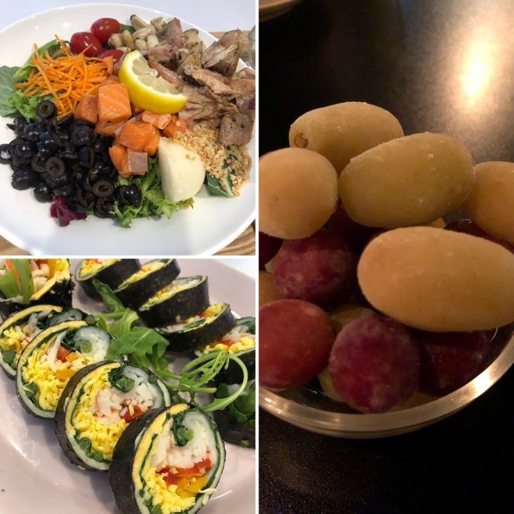 6월 9일 점심_연어 샐러드 & 키토김밥 / 저녁_얼린 청포도