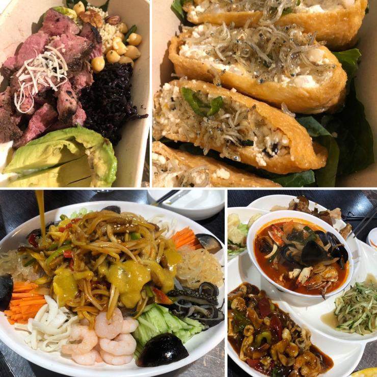 6월 10일 점심_두부 유부초밥 & 스테이크 샐러드 / 저녁_양장피 야채와 짬뽕 국물 조금
