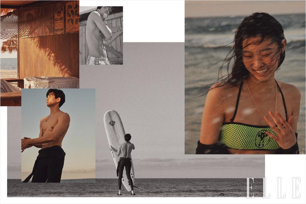 승지가 입은 체크 패턴의 수영복과 가죽 브레이슬렛은 가격 미정, 모두 Hermès. 서핑 수트는 34만9천원, O'neill Korea. 슬리퍼는 2만4천9백원, Crocs. 실버 네크리스는 20만8천원, Portrait Report. 윤영이 입은 비키니 톱은 22만원, Moschino. 네크리스는 가격 미정, Chanel.