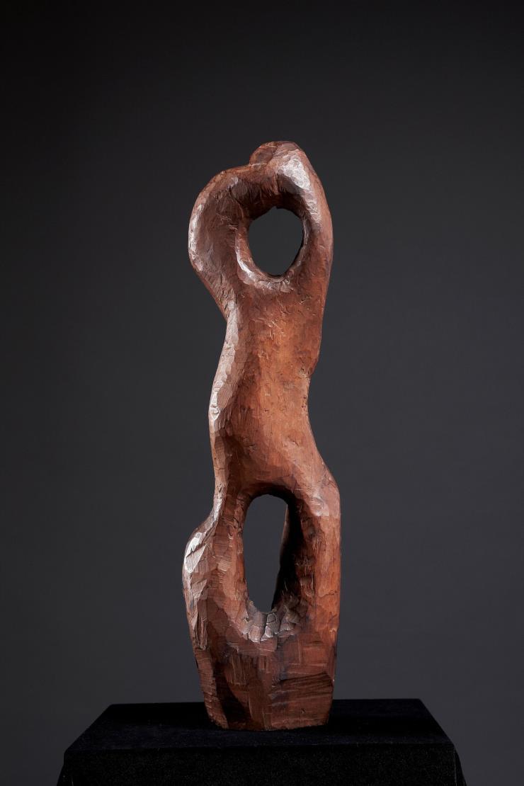송영수, 작품57, 58x16x10cm, 나무, 1957