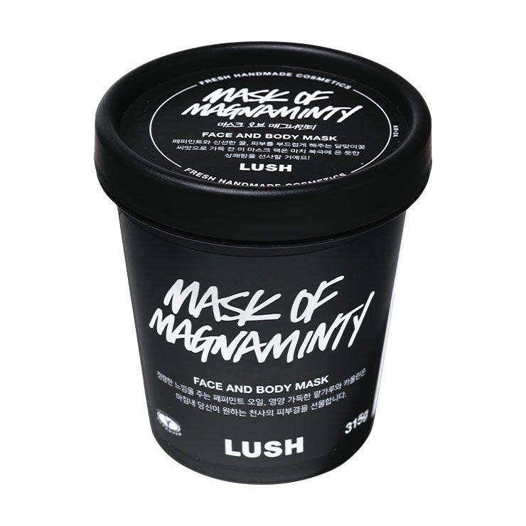 러쉬 마스크 오브 매그너민티 2만원 → 자극받은 피부를 진정시키는 페퍼민트 오일 성분이 들어있는 시원한 워시오프 딥 클렌징 마스크.