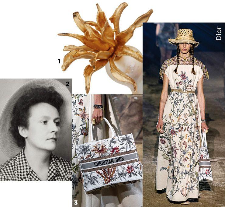 1 이국적인 꽃을 닮은 디올 트라이벌 귀고리. 2 무슈 디올의 여동생 캐서린 디올의 초상. 3 섬세한 자수 장식의 야생화 모티프가 돋보이는 북 토트 백.