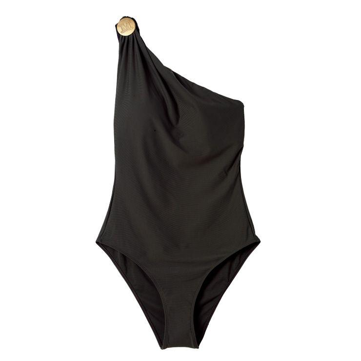 골드 버튼을 더한 비대칭 수영복은 가격 미정, Max Mara.