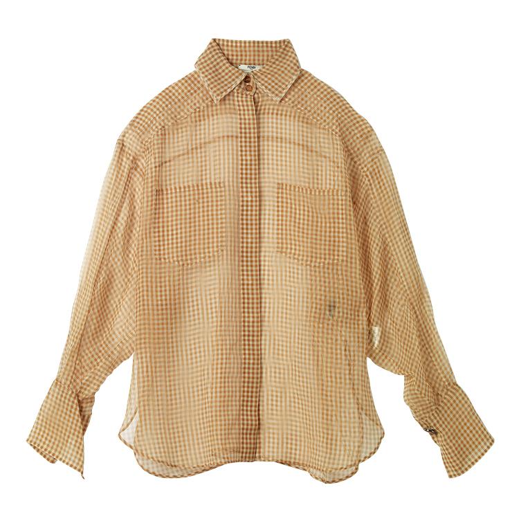 시어한 체크 패턴의 셔츠는 가격 미정, Fendi.