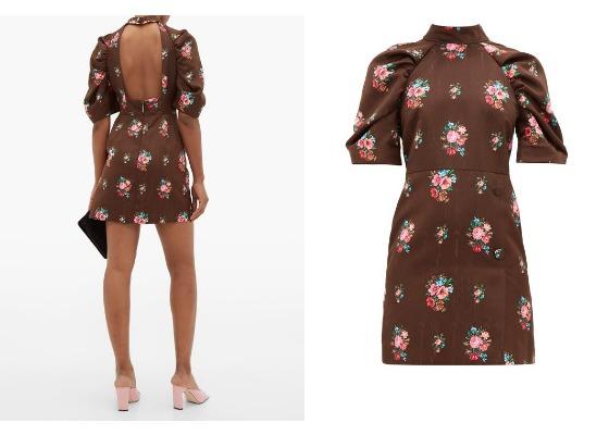 빈티지 플라워 패턴의 오픈 백 드레스는 17만원대, MSGM by Matchesfashion.