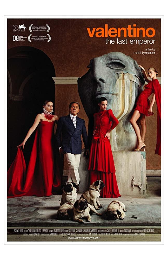 발렌티노의 다큐멘터리, 〈Valentino: The Last Emperor〉 포스터.
