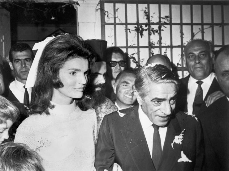 1968년 10월에 열린 재클린 케네디와 아리스토텔레스 오나시스의 결혼식. Ⓒ게티 이미지